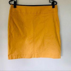 AKRIS PUNTO Yellow Lined Pencil Skirt w/pockets